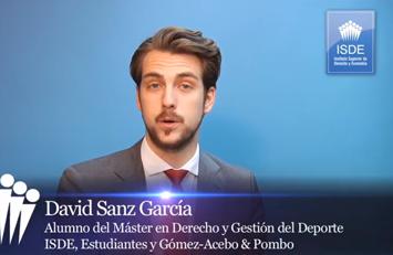 Testimonio de David Sanz García sobre el Master en Derecho y Gestión del Deporte ISDE – Club Estudiantes.